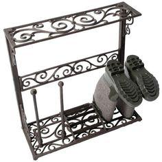 Esschert Design Boot Shoe Rack Storage Stand Organiser Size S Cast Iron for sale online Shoe Rack Oak, 50 Pair Shoe Rack, Metal Shoe Rack, Hanging Shoe Rack, Banquette Design, Shoe Storage Shelf, Diy Storage, Iron Storage, Storage Bins
