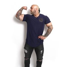 Winning is the only protocol! ✅ V Neck T-Shirt Navy Blue / Gold Testoriginal Jeans Worldwide shipping available✈️🌎 Gym Wear, Bodybuilder, Blue Gold, Baby Blue, V Neck T Shirt, Sporty, Navy, Jeans, Fitness