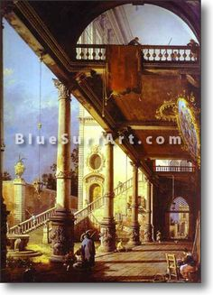 Capriccio of Colonade and the Courtyard of a Palace - £124.99 : Canvas Art, Oil Painting Reproduction, Art Commission, Pop Art, Canvas Painting