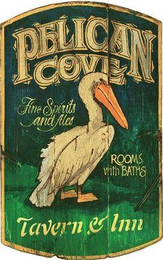 Pelican Cove - Vintage Beach Sign: Beach Decor, Coastal Decor, Nautical Decor, Tropical Decor, Luxury Beach Cottage Decor