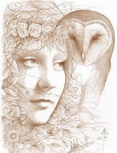 Owl and Goddess Art