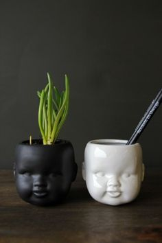 Child Ceramic Vase available in Black or White