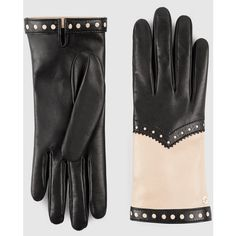 Gucci Women'S Brogue Leather Gloves (7 900 ZAR) ❤ liked on Polyvore featuring accessories, gloves, leather gloves, gucci gloves, black and white gloves and gucci
