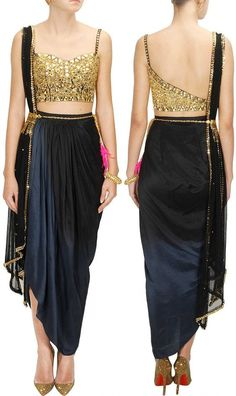 Black And Golden Color Dhoti Saree Image Indian Gowns, Indian Attire, Indian Outfits, Dhoti Saree, Ghagra Choli, Saree Dress, Silk Sarees, Bridal Blouse Designs, Saree Blouse Designs