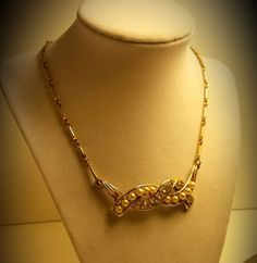 Vtg Designer Signed CORO Necklace Rhinestone Pearl Choker Deco BRIDAL JEWELRY #Coro #ChokerVTGDecoDesignerBridalJewelry
