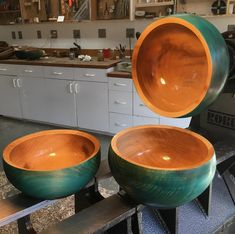These teal dyed sycamore bowls have such a presence. I'm finding them somehow soothing to look at.