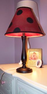 Ladybug lamp shade for my daughters lady bug theme bed room lady bug lamp i could make that lamp shade mozeypictures Gallery