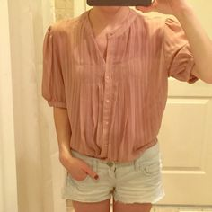 Vintage pleated top striped buttoned Beautiful and comfortable. Excellent condition. Anthropologie Tops Blouses