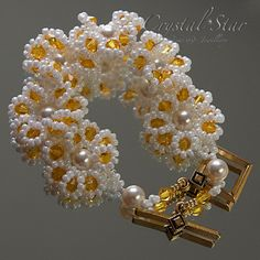 Daisy Chain Tutorial by Crystalstargems on Etsy 1 Seed Beads, 4mm rounds, 4mm faceted rounds, 4mm bicones, clasp, 6mm pearls