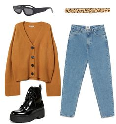 Outfit: mustard yellow cardigan sweater blue mom jeans leopard print belt thick rectangular sunglasses and black platform combat boots - Mom Jeans - Ideas of Mom Jeans Yellow Cardigan Sweater, Mustard Yellow Cardigan, Sweater Outfits, Cute Casual Outfits, Retro Outfits, Vintage Outfits, Vintage Fashion, College Fashion, College Outfits