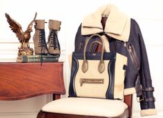 Cream / navy boots, jacket, bag - Balmain & Celine - Kate Davidson Hudson