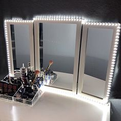 LED Vanity Mirror Lights Kit for Makeup Dressing Table Vanity Set Flexible LED Light Strip Daylight White with Dimmer and Power Supply DIY Hollywood Style Mirror Mirror not Included ** See this great product. (This is an affiliate link) Makeup Dressing Table, Dressing Table Set, Dressing Mirror, Mirror With Light Bulbs, Makeup Mirror With Lights, Vanity Room, Vanity Set, Vanity Ideas, Mirror Ideas