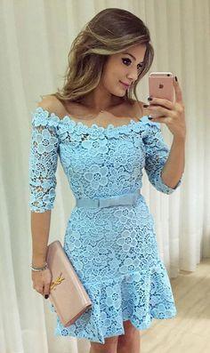 A-Line Homecoming Dresses,Off-the-Shoulder Homecoming Dresses,Half Sleeves Homecoming Dresses,Blue Homecoming Dresses,Lace Homecoming Dresses,Bow knot Homecoming Dresses,Homecoming Dresses 2017,Party Dresses,Graduation Dresses