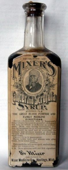Cancer and Scrofula Syrup 1861 Not too sure it worked 25 Health Products Youll Be Glad You Dont See Today Old Medicine Bottles, Antique Bottles, Vintage Bottles, Bottles And Jars, Glass Bottles, Antique Glass, Vintage Advertisements, Vintage Ads, Vintage Makeup