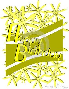A nice and modern idea for and happy birthday greeting card with stripes and floral elements