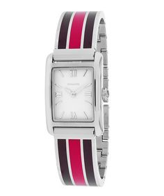This Red & Black Stripe Bracelet Watch by Coach is perfect! #zulilyfinds