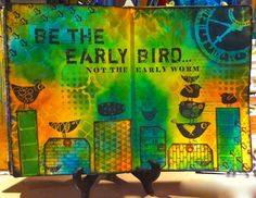 I've just received a box of fabulous new releases fromDarkroom Doorin Australia. What a treat! This spread in my art journal features theCarved Birds, Vol Istamp set (designed by my fellow DT...