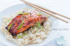 Miso Salmon #recipe | Wild salmon fillet marinated in a sweet and savory miso marinade, garnish with sesame seeds and scallion.