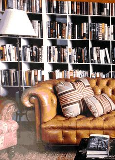 Full wall bookshelves and leather chesterfield couch. Furniture, Chesterfield Couch, Wall Bookshelves, Living Room Furniture, Interior, Home, Formal Living Room Furniture, Interior Design, Couch