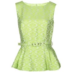 Darling Janie Peplum Top ($32) ❤ liked on Polyvore featuring tops, shirts, blouses, blusas, tank tops, lime, peplum tops, green tank, lime green tank and print shirts