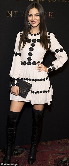 Showing what she's got: Victoria Justice highlighted her vertiginous legs by way of thigh-...