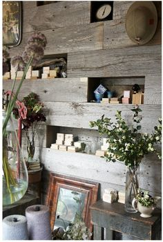 wood walls with shelving