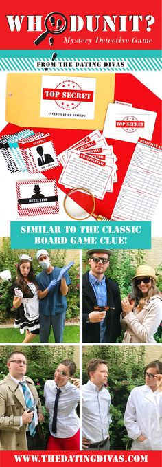 Whodunit Mystery Detective Game - just like the game of Clue in real life! Such a fun Halloween themed party or group date! Put your detective skills to the test with this mystery detective game night! We have EVERYTHING you need to host and play your own murder mystery game.