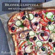 Blomkålspizza med kylling og grønt Love Food, A Food, Food And Drink, Vegan Food, Tortilla Sana, Pasta, Dinner Is Served, Foods With Gluten, Recipes From Heaven
