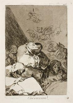 """Francisco de Goya: """"Correccion"""". Serie """"Los caprichos"""" [46]. Etching and aquatint on paper, 213 x 148 mm, 1797-99. Museo Nacional del Prado, Madrid, Spain"""