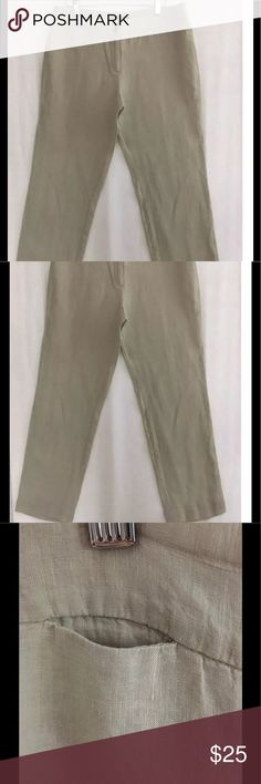 "Max Mara the Weekend Beige Tan Linen Pants 10 W12 Max Mara 'the Weekend' Beige Tan Linen Pants Size 10 Fit W12 16"" waist measured laid flat 29.25"" inseam, 9"" wide leg. (Small slit pocket, in photo is not damage) Max Mara Pants"