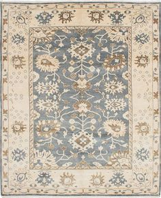 Hand-knotted Royal Ushak Light Denim Blue Wool Rug