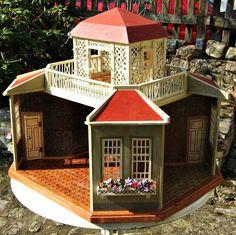 Schönes 4-seitiges Puppenhaus + Pavillon, M. Gottschalk um 1910-15, restauriert