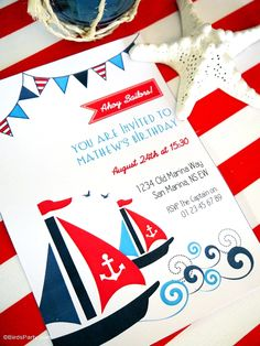 Red, white and blue nautical party with ideas on DIY decorations, table styling, food and favors, perfect for July fourth! - BirdsParty.com