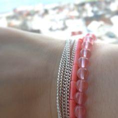 #diy #diybracelet #watermelon #tourmaline #pink #coral  Vart fine :)