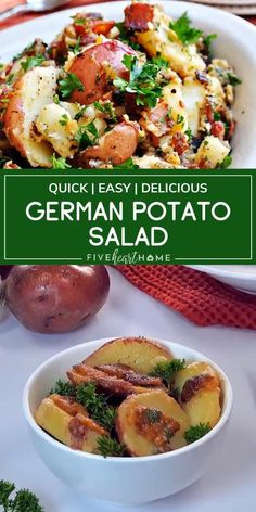This recipe makes the ultimate summer side dish! German Potato Salad is the best. Nobody can get enough of this warm potato salad loaded with bacon and tossed in a delicious tangy dressing. Great for any summer picnic or potluck! Save this and try it! Hot Potato Salads, Potato Salad Recipe Easy, Best Mustard Potato Salad Recipe, Vegan German Potato Salad Recipe, Potato Salad With Bacon, Authentic German Potato Salad, Loaded Potato Salad, Bacon Potato, Vegetarian