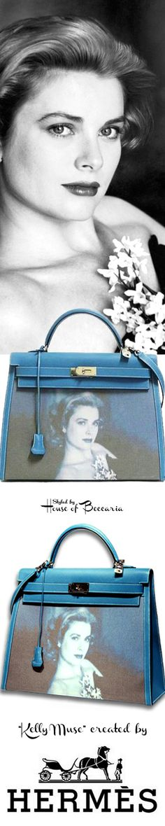 "~This Kelly bag with a serigraph of Grace Kelly was created for the June 2008 ""Les annees Grace Kelly"" ('The Grace Kelly Years') Exhibition Artcurial Briest-Poulain–F.Tajan"" at the Hotel Hermitage in Monte Carlo. This bag sold at auction for 52000 euro with all proceeds assigned to HRH Princess Stephanie de Monaco's charitable organization, ""Fight Aids Monaco."" A total of one hundred vintage Hermès handbags were auctioned at this event 