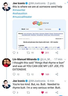 This is so amazing. Also lol Rhymezone is a lifesaver Theatre Nerds, Musical Theatre, Be More Chill Musical, Hamilton Lin Manuel Miranda, Hamilton Musical, And Peggy, Out Of Touch, Dear Evan Hansen, Alexander Hamilton