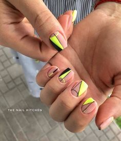 23 Great Yellow Nail Art Designs 2019 - Little Yellow Cab Nails - Neon Yellow Nails, Yellow Nails Design, Yellow Nail Art, Neon Nails, Neon Nail Art, Neon Nail Polish, Cute Nails, Pretty Nails, Neon Nail Designs