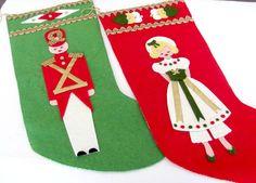 Vintage Christmas Stockings 1960's Paragon by ThirstyOwlVintage