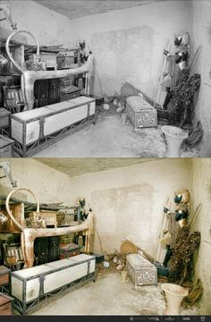 A gilded lion bed, clothes chest and other objects in the antechamber. The wall of the burial chamber is guarded by statues. 21 Colorized Photos from the Discovery of King Tut Ancient Egyptian Art, Egyptian Goddess, Ancient Aliens, Ancient History, Ancient Greece, King Tut Tomb, The Boy King, Colorized Photos, Egypt Art