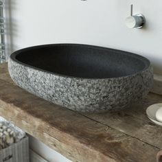 Lava stone vessel wash basin worked upon by hand with rock face effect #sink #handmade #lavastone