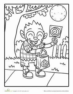 halloween first grade kindergarten holiday worksheets halloween werewolf coloring page - Halloween Werewolf Coloring Pages