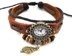 Leather Bracelet Watch, brown, shell charm, beaded, adjustable | egrobeck - Jewelry on ArtFire