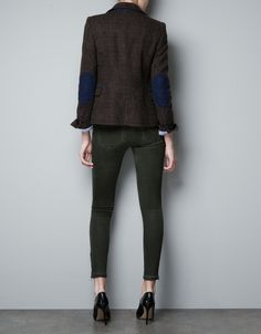ZARA checked wool blazer with elbow patches in brown, small, 799 RMB (winter 2012)