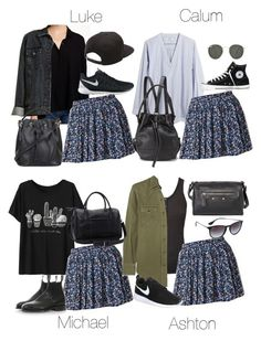 """5SOS Styles: Blue and White Floral Skirt"" by fivesecondsofinspiration ❤ liked on Polyvore featuring Lush, Forever 21, NIKE, Vans, Topshop, Madewell, Ragdoll, Converse, Yves Saint Laurent and Opening Ceremony"