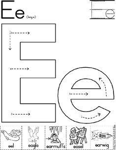 Alphabet Letter E Worksheet | Standard Block Font | Preschool Printable Activity