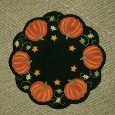 Wool Applique Pumpkin Penny Mat Wool Candle Mat