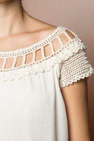 Idea for sleepwear / Blusa Crochet Alice Off - Vanessa Montoro - vanessamontoro Col Crochet, Crochet Fabric, Crochet Collar, Crochet Blouse, Crochet Stitches, Sleeveless Outfit, Beautiful Crochet, Crochet Clothes, Ideias Fashion