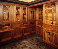 Marqueterie de bois. Studiolo d'Urbino.