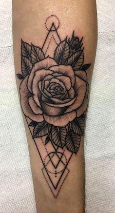 Geometric Rose, tattoo by Javi Campos Ink Bomb, Chandler AZ